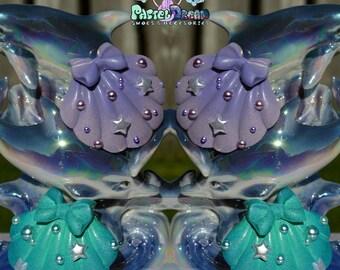 big mermaid Pair shell hair clips  Pastel Goth, Soft Grunge, kawaii,soft grunge, lolita,harajuku,fairy kei