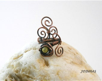 Copper Ring, Flower Copper Ring, Copper Wrap Ring, Yellow Flower Copper Ring, Wire Wrapped Jewelry Handmade, Wire Jewelry Handmade
