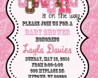 Cowgirl shower invitation with Thank You Cards-Digital Shower Invitation-Baby Shower Invitation