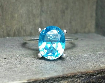 Blue Topaz Solitaire Sterling Silver Ring- 8X10mm