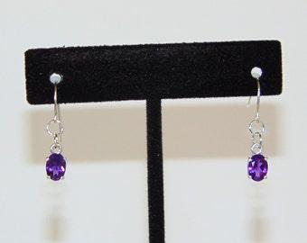 Amethyst Oval Dangle Drop Earrings
