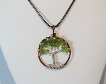 Peridot Tree of Life Pendant Necklace (md.)