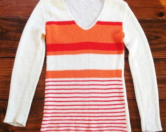 Bright Stripe 70's Womens Sweater