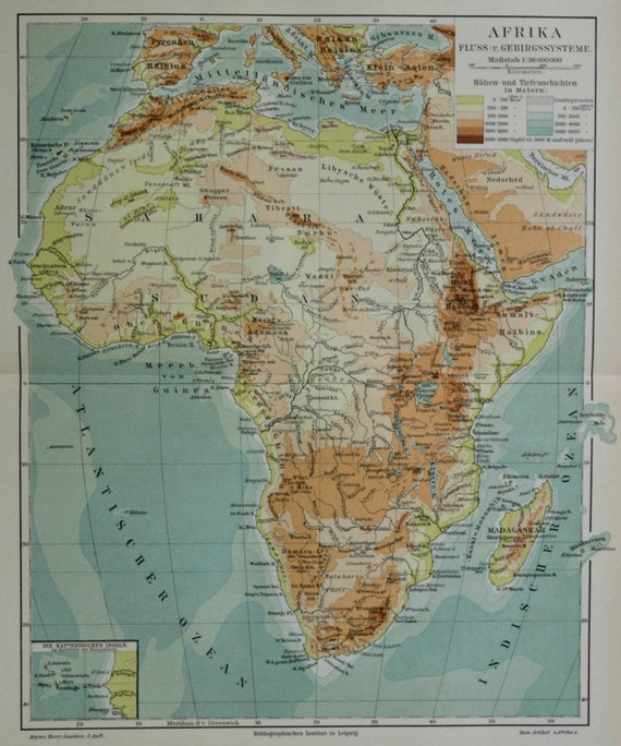 Africa physical map.  Old book plate, 1897. Antique illustration. 118 years lithograph. 9'2 x 11'9 inches.