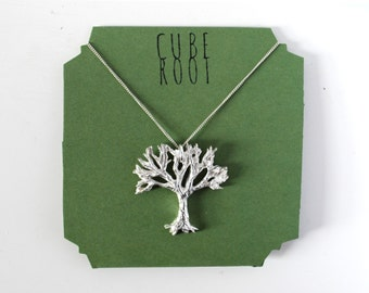 """Tree fine silver necklace with 16"""" curb chain"""