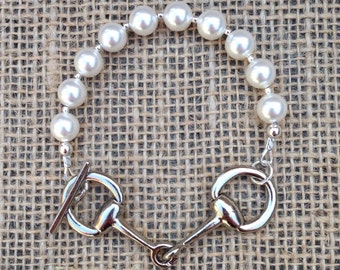 Snaffle Bit Bracelet- 'Welsh' - White Swarovski Pearl - Available in Gold or Silver - Equestrian - Horse Lover Gift