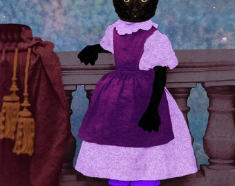 Lady ONYX Destroyer of Worlds BLACK KITTEN cat Victorian girl anthro anthropomorphic altered digital art fantasy image