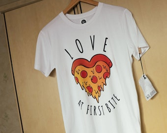 Love At First Bite - Pizza Heart T-Shirt