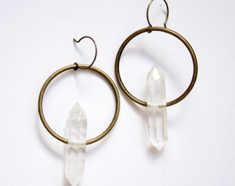 HALO | Large Double-Terminated Quartz Crystal Points on Antiqued Brass Earrings