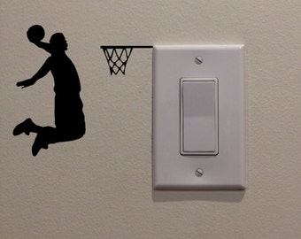 """One Handed Slam Dunk - Basketball Player Dunking on Light Switch (4.5""""W x 4.25""""H) - Bedroom//Wall Art/Sportsroom/Mancave/Boys Room Decal"""