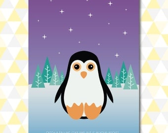 Penguin 'Catch a Falling Star' Nursery Art - Download - A3