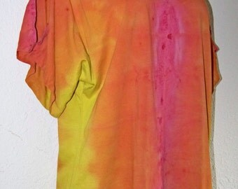 Pink, Orange and Yellow Ombre Dyed Split Sleeve Tee