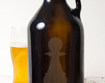 Pawn Chess Piece Customizable Etched Glassware Beer Growler Barware Gift