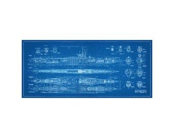 """World War 2 German Submarine Blueprint - Giclée -  Print 12"""" x 27"""""""