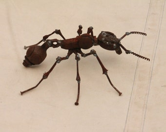 Scrap Metal Ant - Insect Sculpture - Common Red Ant - Reclaimed Materials - Recycled - Repurposed