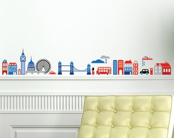 London Cartoon Skyline Colour Wall Decal