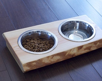 "Dog dish stand ""Medium"" wood dog dish stand crafted from live edge fir or cedar with cedar stands. Dog feeding station,  hard to tip, trendy"