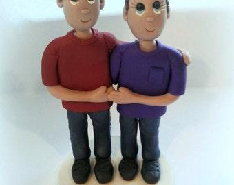 Custom Casual Groom and Groom Wedding Cake Topper, Civil Union