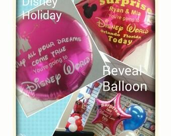 Personalised Disney Surprise Trip Holiday Reveal Foil Balloon. Disneyworld Orlando / Disneyland Paris. Kids Birthday / Holiday Surprise Gift