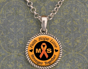 "Multiple Sclerosis Awareness ""Stronger Together"" Necklace"