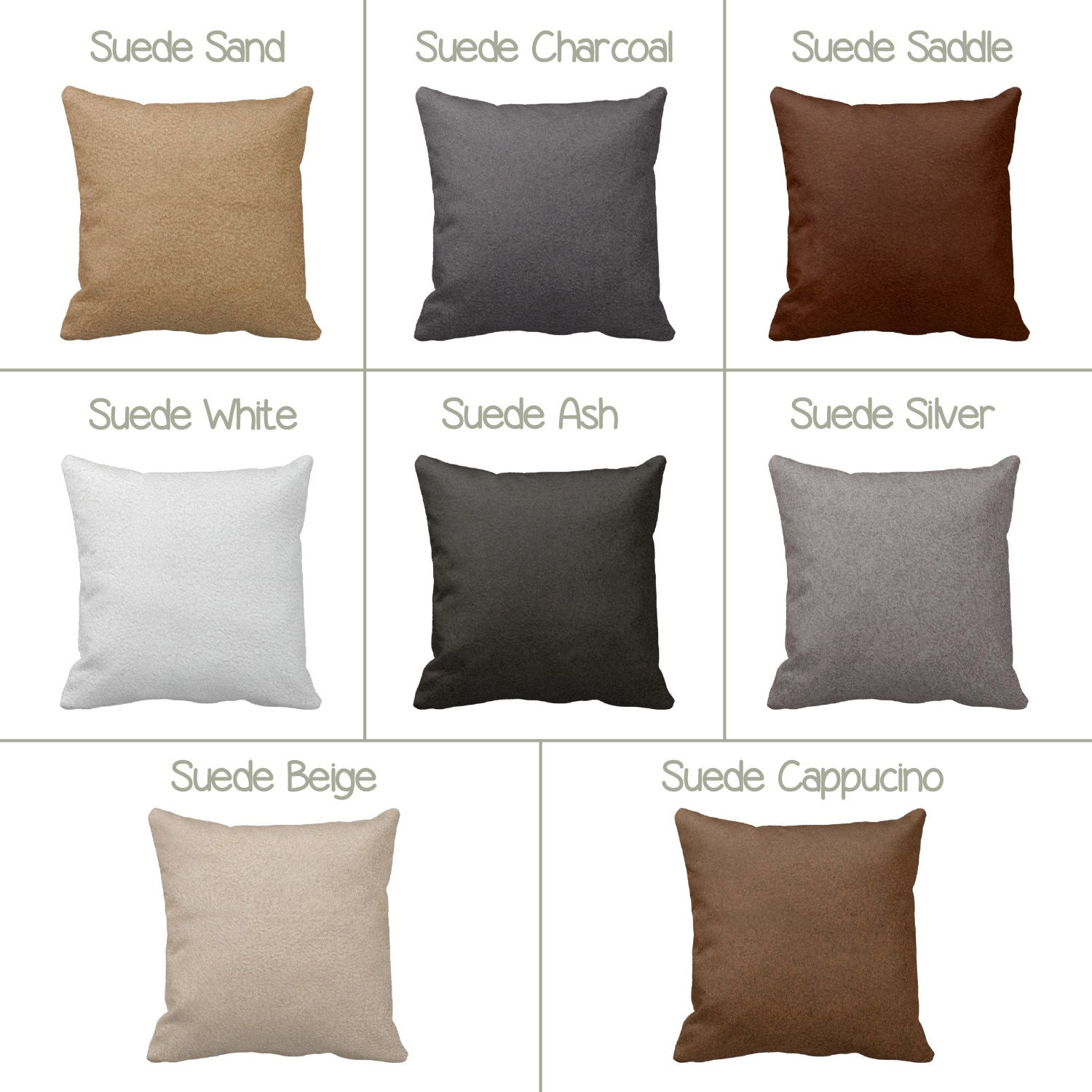 How To Make Zippered Throw Pillow Covers : Suede Zippered Throw Pillow Cover by Primal Vogue Various