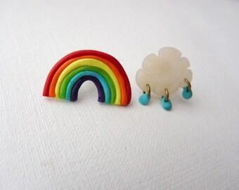 Rainbow Cloud Earrings, Rainbow Studs, Cloud Rain Earrings, Spring Post Earrings, Rainbow Posts, Lolita Studs