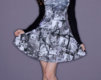Star Wars Dress Posters Black and White A-Line Skater Dress