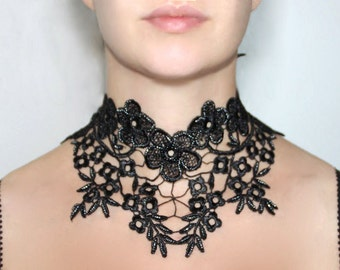 Flamenco black lace necklace, large floral venise lace choker - beaded flamenco gothic vintage victorian choker, halloween necklace