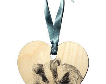 Badger animal home decoration, Unique hand drawn badger wooden heart gift, Coloured ribbon, Personalised with name, Hanging heart decoration
