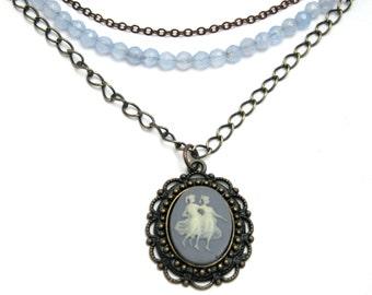 multi strand cameo necklace, layered cameo necklace, classic blue cameo necklace, vintage cameo necklace, gemstone & cameo necklace, cameos
