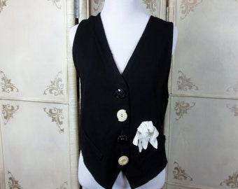Black Vest Lace Flower Applique Vintage Blue Brand Size Medium