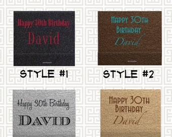 birthday matchbook, party favor matches