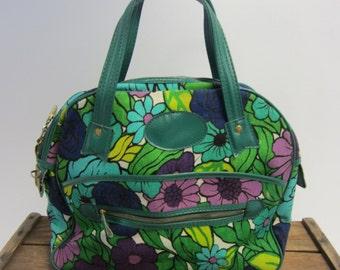 1960s Retro Overnight Flower Power Luggage Bag