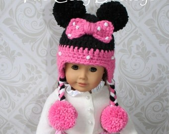 Minnie Mouse Hat Disney Character Hat for an American Girl Doll 18 inch doll Bitty Baby doll clothes