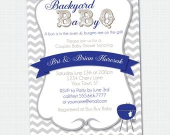 BaByQ Baby Shower Invitation {Digital File} Baby Q Baby BBQ