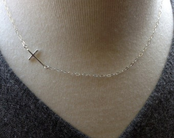 Horizontal Cross Necklace Sideways Cross Sterling Silver Christian Jewelry Cross Jewelry Communion Jewelry Confirmation Gift Communion Gift