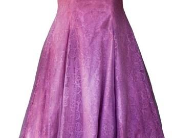 1950s Medium Dress Purple Plum Dyed Prom Wedding Tea Length Party Bridal Bridesmaid Rockabilly Circle Skirt A Line Pin Up Retro Pansy Cute