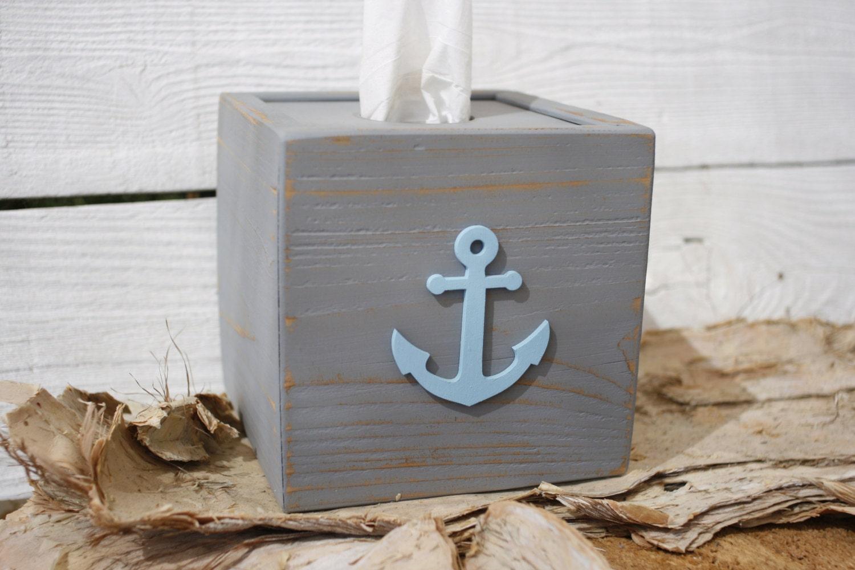 Tissue kleenex cube box cover grey nautical anchor bathroom - Beach themed tissue box cover ...