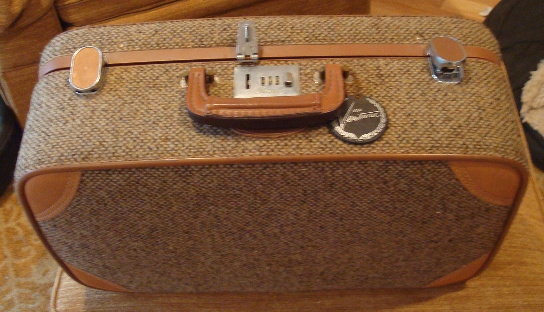 Vintage Ventura Tweed Leather Trim Carry-on Overnighter