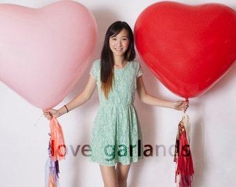 "36"" Heart Balloon Tassels (Set of 2): Customized Colors"