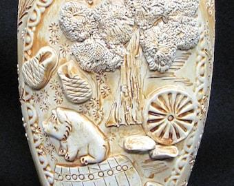"12"" Moroccan Pottery Vase Three Dimensional Scenes"