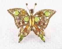 Vintage Juliana Butterfly Brooch in Earthy Color Rhinestones