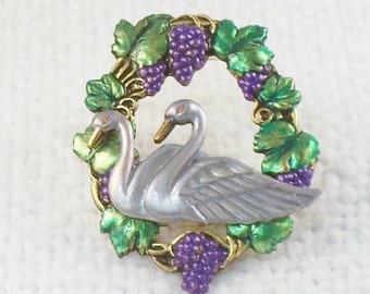 Vintage Swans and Grapes Vines Repousse Brooch