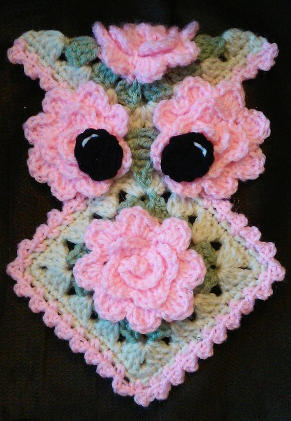 Crochet Rose Owl Potholder Pattern Only by 3ThreadinBettys on Etsy