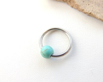 Cartilage Earring, Turquoise Beaded Cartilage Hoop, Body Piercing Jewelry, Tragus Earring, Rook Earring, CBR Cartilage Ring. 511b