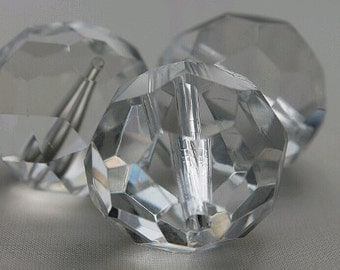 24mm Clear Glass Faceted Cut, Clear Beads, Large Clear Beads(3pcs)