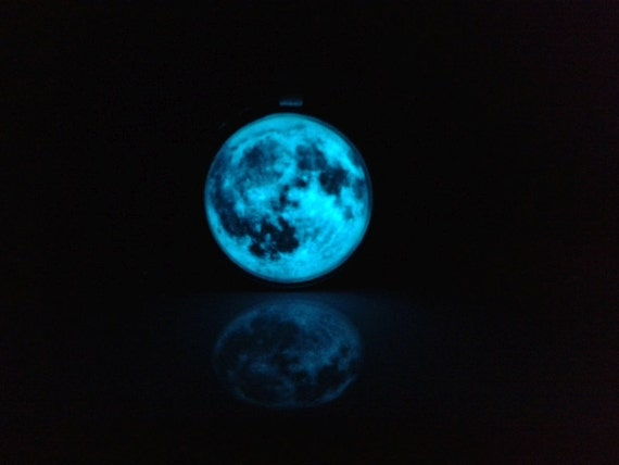 Glowing Full Moon Pendant Full Moon Necklace By
