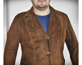 Vintage Men Suede Leather Jacket / Fall Jacket / Trench Coat / Brown / S Modell