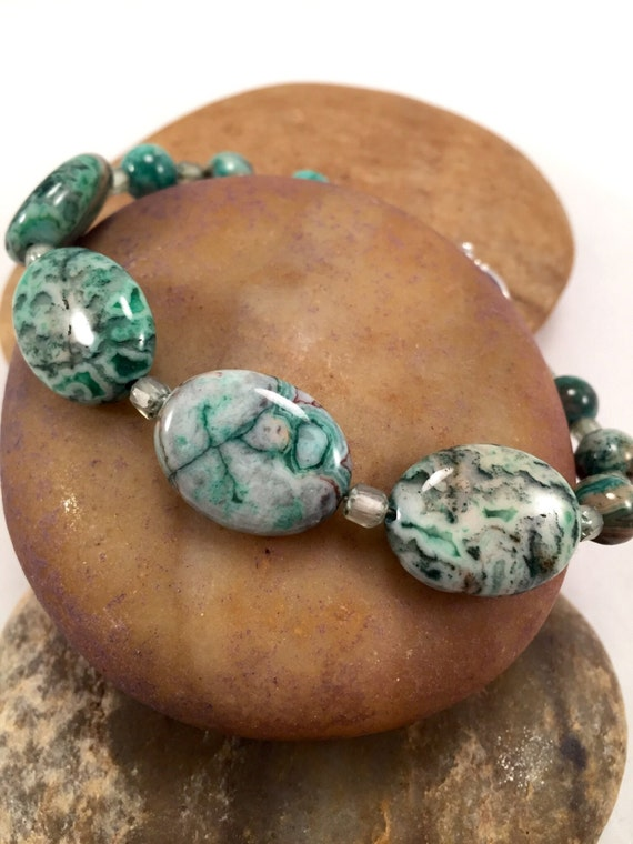 Green Agate Bracelet Moss Green Crazy Lace Agate Stone