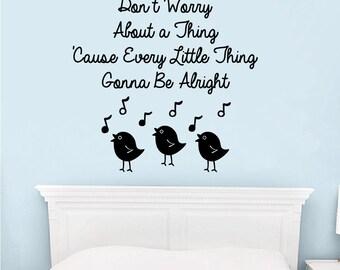 Wall Vinyl Decal Three little Birds song lyrics by Bob Marley + three birds singing